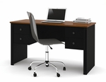 Somerville Executive Desk with two Pedestals in Black and Tuscany Brown [45450-1118-FS-BS]
