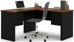 Somerville L-Shaped Desk with File Drawer and Wire Management - Black and Tuscany Brown [45420-1118-FS-BS]
