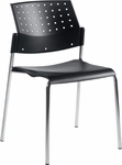 Sonic QuickShip Perforated Back Armless Stacking Chair with Chrome Frame [6508-CH-GLO]