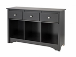 Sonoma 30.5''H Living Room Console with 3 Open Storage Compartments and 3 Drawers - Black [BLC-4830-K-FS-PP]