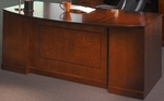 Sorrento Freestanding Bow Front Desk with One Pencil Box File Pedestal and One File File Pedestal - Bourbon Cherry [SDBBF72SCR-FS-MAY]