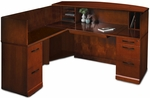 Sorrento 72'' W Reception Desk with Veneer Counter and Left Handed Return - Bourbon Cherry [SRCSLSCR-FS-MAY]