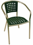 South Beach Hand Polished Tubular Aluminum Stackable Club Chair - Green [E06D-GRN-ATC]