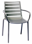 South Beach Stackable Outdoor Arm Chair Titanium Silver [DV350TS-BFMS]