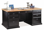kathy ireland Home™ Southampton Collection 68.5''W x 30''H Double Pedestal Executive Desk - Onyx Black [SO680-FS-KIMF]