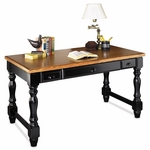 kathy ireland Home™ Southampton Collection 57.5''W x 30''H Writing Table - Onyx Black [SO384-FS-KIMF]