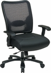 Space 400 lb Capacity Double Air Grid Back & Layered Leather Seat Ergonomic Office Chair with Built-In Adjustable Lumbar Support - Black [75-47A773-FS-OS]