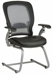 Space Light Air Grid Back Visitors Chair with LeatherSeat and Platinum Finish Sled Base [3685-FS-OS]