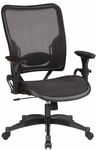 Space Air Grid Series Professional Air Grid Chair with Gun Metal Finish Accents - Black [6216-FS-OS]