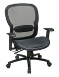 Space Big & Tall Breathable Mesh Chair with 400 lb Weight Capacity and Adjustable Arms - Black [839-11B35WA-FS-OS]