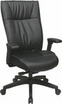 Space Contemporary Leather Executive Chair with Padded PU Adjustable Arms and Lumbar Support - Black [9370-55NC17U-FS-OS]