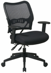 Space Custom Fabric Deluxe Swivel Chair with Mesh Seat and Adjustable Arms with Padding [13-7N9WA-FS-OS]