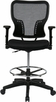 Space Deluxe Air Grid Back and Padded Mesh Seat Chair with 4-Way Adjustable Flip Arms and Adjustable Footring [213-37N2F3D-FS-OS]
