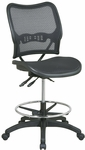 Space Deluxe Ergonomic Air Grid Seat and Back Drafting Chair with Adjustable Chrome Footring - Black [13-77N30D-FS-OS]
