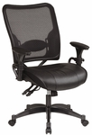 Space Dual Function Air Grid Back Managers Chair with Leather Seat - Black [6876-FS-OS]