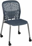 Space Flex Seat and Back Visitor Chair - Set of 2 - Blue Mist with Platinum Frame [801-776-FS-OS]