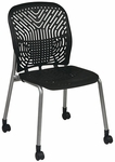 Space Flex Seat and Back Visitor Chair - Set of 2 - Raven with Platinum Frame [801-336-FS-OS]