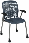 Space Flex Seat and Back Visitor Chair with Arms - Set of 2 - Blue Mist with Platinum Frame [801-776-A-FS-OS]
