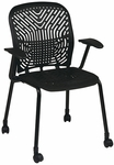 Space Flex Seat and Back Visitor Chair with Arms - Set of 2 - Raven and Black Frame [801-333-A-FS-OS]