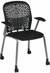 Space Flex Seat and Back Visitor Chair with Arms - Set of 2 - Raven with Platinum Frame [801-336-A-FS-OS]