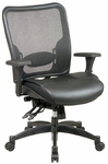 Space Professional Thick Padded Contoured Seat Matrex Back Layered Leather Ergonomic Chair - Black [68-50764-FS-OS]