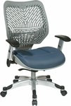 Space REVV Series Mesh Chair with Seat Height Adjustment and Adjustable Arms -Fog Back and Blue Mist Seat [86-M74C625R-FS-OS]
