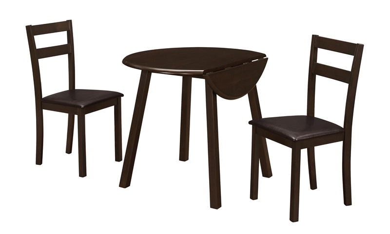 Space Saving 3 Piece Dining Set With Drop Leaf Table And 2 Slat Back Chairs Cappuccino I 1005