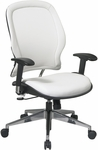 Space Vinyl Managers Chair with Adjustable Arms and Pneumatic Seat Adjustment - White [33-Y22P91A8-FS-OS]