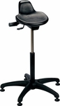 Industrial Specialty Black Polyurethane Sit Stand Stool with ABS Base and Glides [PSIT-2-FS-BRWD]