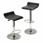 Spectrum Airlift Stool with Black Faux Leather Seat-Set of 2 [93329-FS-WWT]