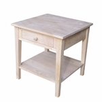 Spencer Solid Parawood 24''W X 25''H End Table with Drawer and Storage Shelf - Unfinished [OT-8E-FS-WHT]