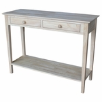 Spencer Butcher Block Top Solid Parawood 48''W X 36''H Server With 2 Drawers And Storage Shelf - Unfinished [SV-8-FS-WHT]