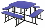 Customizable Square Backless Break Room Table with 4 Built in Benches - 29''H [NBS-48-BKS]
