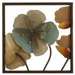 Square Bronze Oil Rubbed Metal Framed 16''H Wall Decor with Acrylic Flowers - Multicolor [2623-FS-PAS]