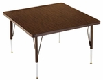 Customizable Square Non-Folding Adjustable Height Activity Table with Chrome Inserts - 23'' - 30''H [SA-366-C-BKS]