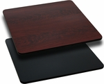 Square Table Top with Reversible Black or Mahogany <font color = blue><b>Laminate</b></font> Top [BFDH-BKMAHSQ-TDR]