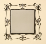 Square Oil Rubbed Metal 30''H Wall Mirror with Decorative Gold Cross Accents - Bronze [2338-FS-PAS]