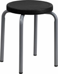 Stackable Stool with Black Seat and Silver Powder Coated Frame [YK01B-GG]