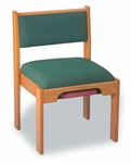 Stained Red Oak Upholstered Stacking Chair with Under Seat Bookrack [T-041-TRN]