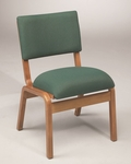 Stained Red Oak Narrow Width Upholstered Stacking Chair [T-300-TRN]