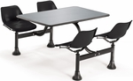 64.25'' D Outdoor Table with Stainless Steel Top and Four Chairs - Black [1004-BLK-MFO]