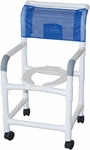Standard Deluxe Shower Chair with Open Front Seat - 22''W X 18''D X 40''H - With Casters [118-3TW-MJM]