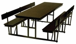 Customizable Standard Lunchroom Table with Back Support and Built in Benches - 29''H [WB-30-6-P-BKS]