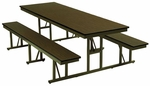Customizable Standard Bench Lunchroom Table without Back Support - 29''H [NB-4-30-P-BKS]