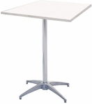 Standard Series Square Pedestal Table with Aluminum Edge, Bright Chrome Legs, and Mayfoam Top - 24''D x 24''W x 30''H [MF24SQPED30-CAE-MFC]