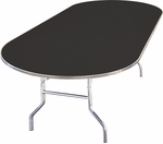 Standard Series Race Track Banquet Table with Laminate Top - 72''D x 36''W x 30''H [ML3672RACE-MFC]