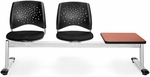 Stars 3-Beam Seating with 2 Black Fabric Seats and 1 Table - Cherry Finish [323T-2224-CHRY-MFO]