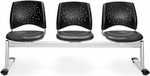 Stars 3-Beam Seating with 3 Vinyl Seats - Charcoal [323-VAM-604-MFO]
