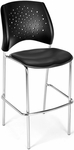 Stars Cafe Height Vinyl Seat Chair with Chrome Frame - Black [328C-VAM-606-MFO]