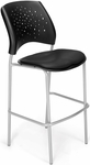 Stars Cafe Height Vinyl Seat Chair with Silver Frame - Black [328S-VAM-606-MFO]